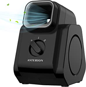 ASTERION Bladeless Air Circulator Fan, Diffuser Table Fan with Strong Airflow Quiet Operation, Portable Desk Fan with 2 Speed Settings, Perfect for Home Office Bedroom, Black