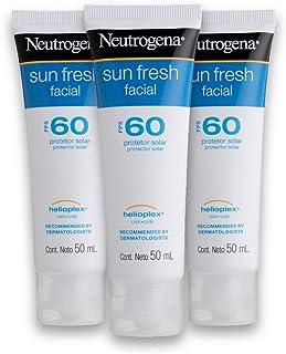 Kit com 3 Protetores Solar Neutrogena Sun Fresh Facial Fps 60 50g