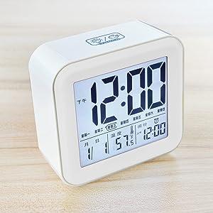 OLILEIO Studenten Kreative Digitale Wecker Wecker Kinder Schlafzimmer leuchtende Uhr Mute elektronische Uhr, Elegante Weiße
