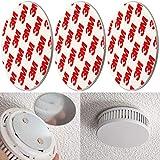 Rauchmelder Magnethalter, 3er Pack, Ø 50 mm, Selbstklebend, 3M Pads, Magnethalterung zur einfachen Befestigung ohne Bohren und Schrauben, für alle Feuermelder und Rauchwarnmelder, Rauchmelder Klebepad
