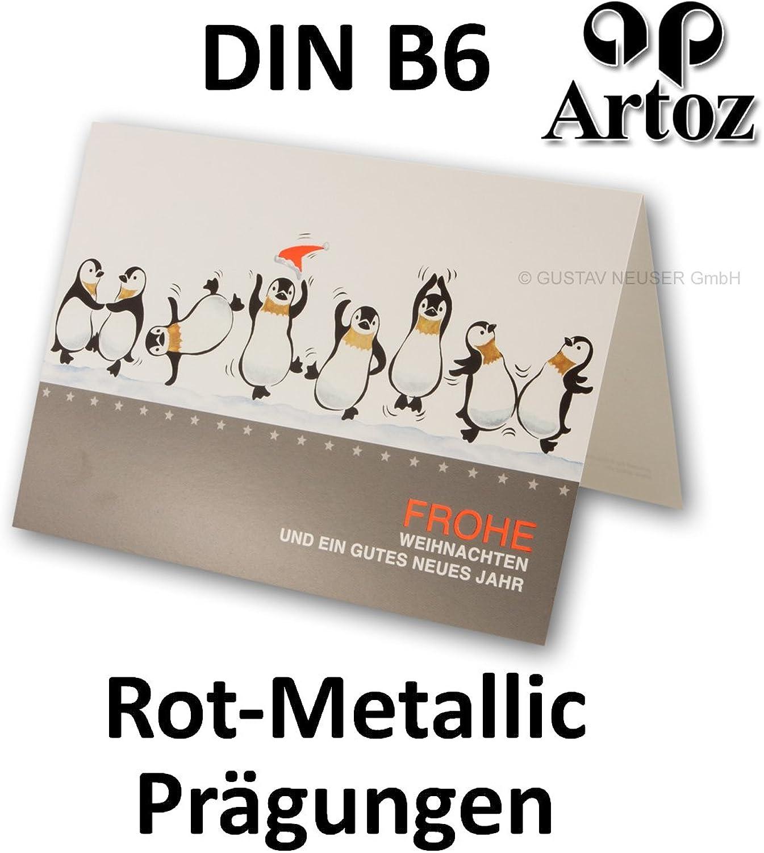 50 Sets   ARTOZ Weihnachtskarten DIN B6 Doppelkarten mit Rot-Metallic Prägung und lustigem Comic-Pinguinmotiv   12 x 17 cm   120 x 170 mm   Faltkarten mit silbernem Umschlag   tanzende Pinguine B01N0OBRF0 | Hohe Qualität und Wirtschaftlichkeit