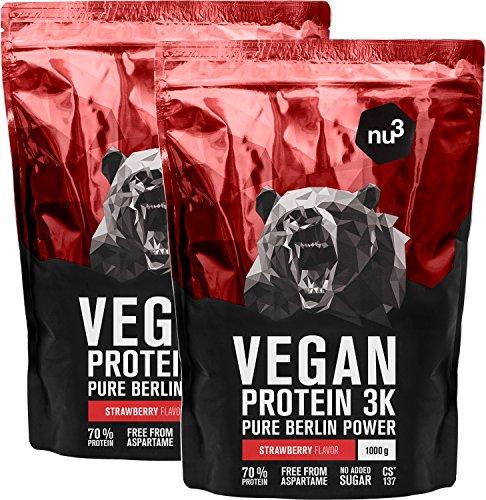 nu3 Vegan Protein 3K Shake - 2 Kg Erdbeere Blend - veganes Eiweisspulver aus 3-Komponenten-Protein mit 70% Eiweiss - Pulver zum Muskelaufbau mit Strawberry Geschmack - Laktosefrei und zuckerfrei