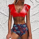 Empuja hacia Arriba el Conjunto de Bikini Halter de Las Mujeres del Traje de baño Biquini Volante bajo la Cintura Mujeres Atractivas del Traje de baño Ropa de Playa Beach Bikini de Vendaje