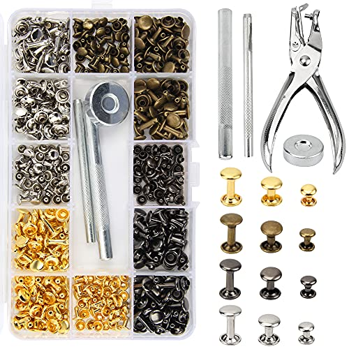 240 Set Remaches de Cuero Corchetes de Presión Metálicos con Kit de Herramienta de Fijación para Artesanía de Cuero Reparación de Decoración