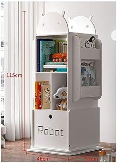 YXB - Estantería para libros con forma de cubo giratorio, color blanco, 115 x 46 x 52 cm, blanco 1, 115×46×52cm