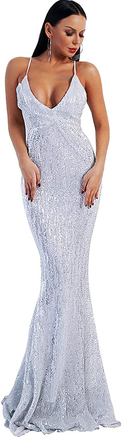 Miss ord Missord Women's Sequins Prom Dress Spaghetti Straps V Neck Backless Gowns