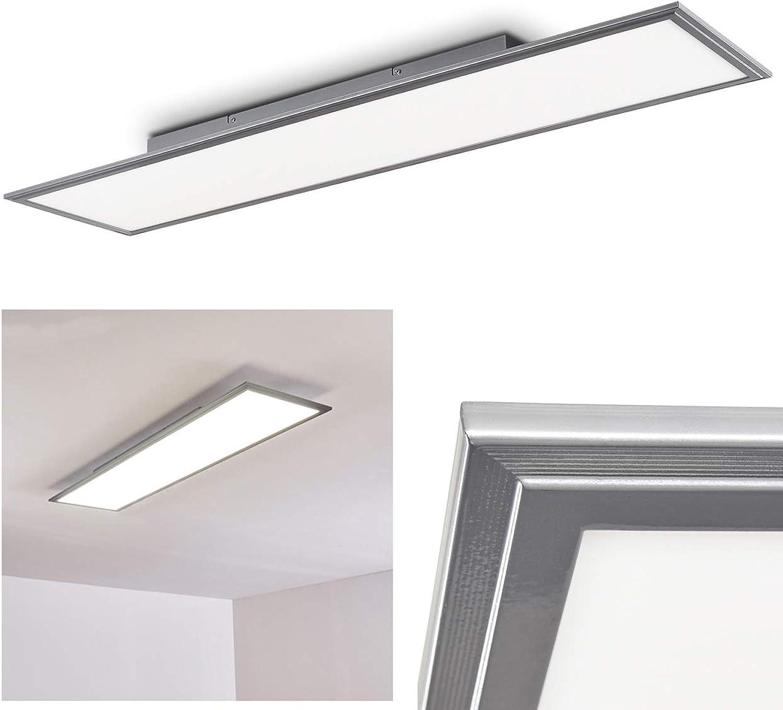 LED Deckenpanel Voisines, lngliche Deckenleuchte in Nickel-matt, 32 Watt, 5200 Lumen, Lichtfarbe 4000 Kelvin, moderne Deckenlampe aus Metall