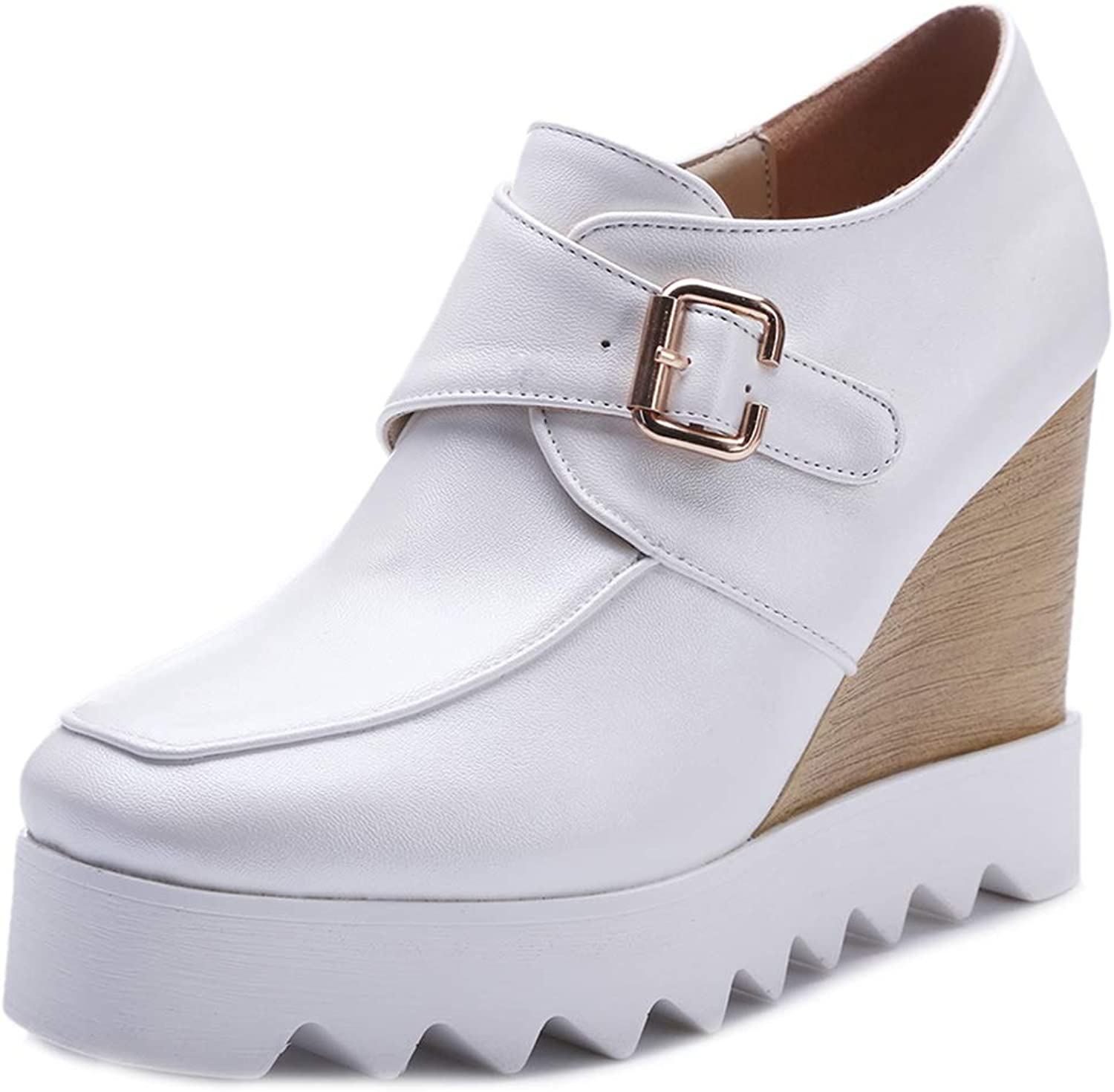 GIY Platform Wedge Oxfords shoes for Women with Buckle Wingtip Square Toe Chunky High Heel Casual Loafers