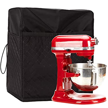 HOMEST Stand Mixer Quilted Dust Cover with Pockets Compatible with KitchenAid Tilt Head 4.5-5 Quart, Black (Patent Pending)