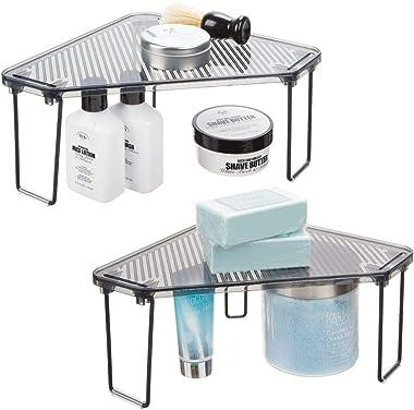 mDesign Corner Plastic/Metal Freestanding Stackable Organizer Shelf for Bathroom Vanity Countertop or Cabinet for Storing Cos