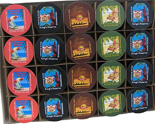 20 Count Kona One-Cup Variety Pack Gift for Single Serve Brewing Systems, Pure Kona and Kona Hawaiian Coffee, Gift Boxed for Valentines, Mothers Day, Fathers Day and all Occasions