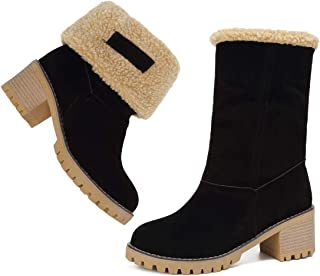 Mostrin Women's Winter Snow Boots Waterproof Round Toe Suede Chunky Mid Heels Warm Fur Ankle Boots