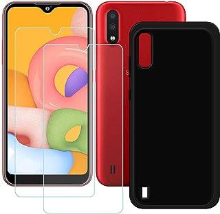 TTJ Svart skal till Samsung Galaxy M01S [2 st] HD pansarglas, mobiltelefonfodral silikon skyddande skydd TPU-fodral mobilv...