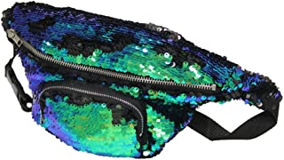 Play Tailor Mermaid Fanny Pack, Reversible Sequins Sling Bag and Waist Pack for Party, Running, Hiking, Sports (Fancy Green w/Black)