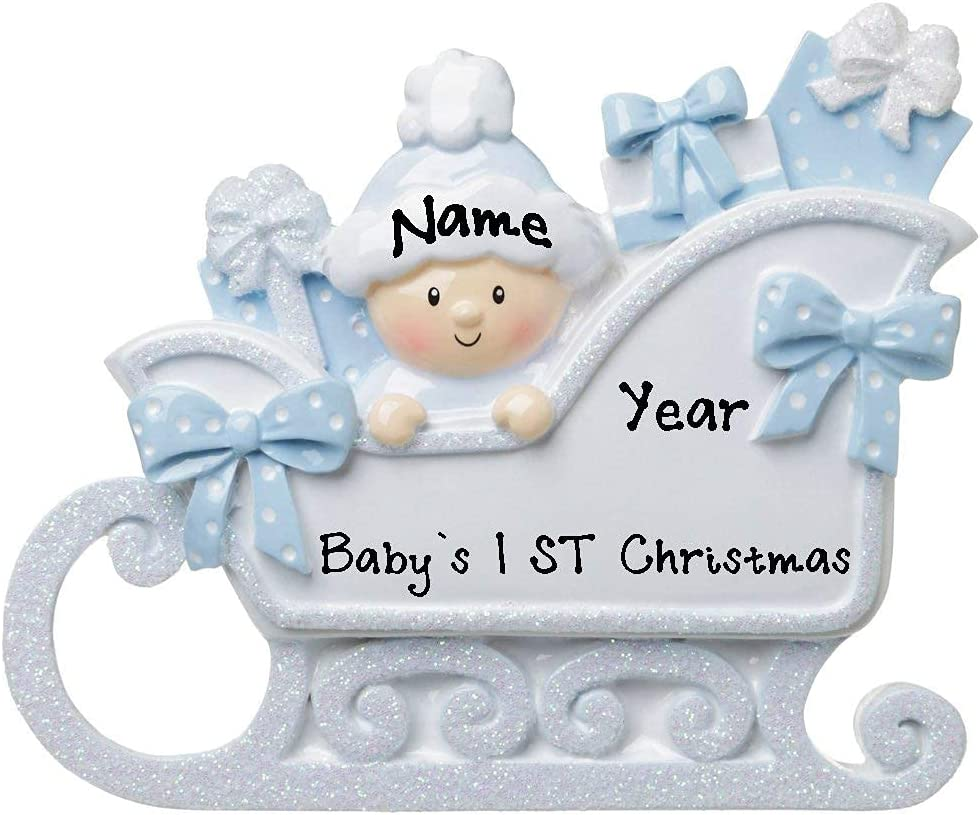 2021 Very popular New Baby in High quality new Sleigh Baby`s First Hang Christmas Personalized