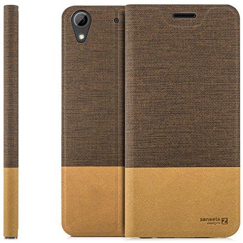 zanasta Designs Tasche HTC Desire 626G Hülle Flip Hülle Slim Schutzhülle Handytasche mit Kartenfach, Standfunktion | Hellbraun