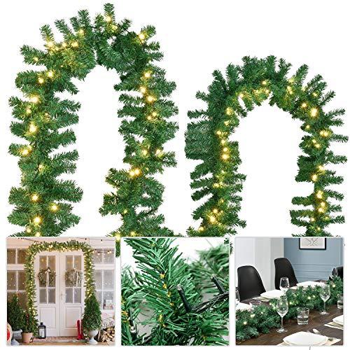Juskys Weihnachtsgirlande 5 m in grün mit 100 LED-Lichtern – Tannengirlande – Lichterkette – Weihnachtsdeko – Weihnachtsbeleuchtung – Strombetrieben