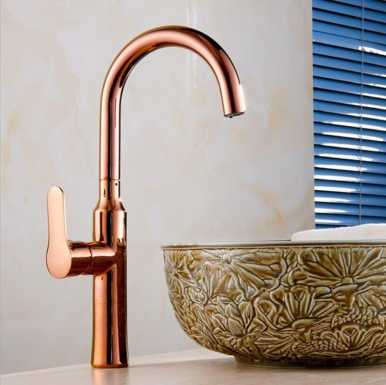 Ss Kitchen Single-handle gold-plated Faucet, European-style Copper Hot And Cold Water Mixing Sink Faucet