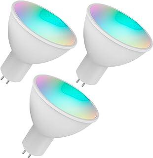 Adaskala WiFi Smart Bulb RGB+W+C LED Bulb 5W GU5.3 Dimmable Light Phone APP Remote Control Compatible with Home Tmall Elf ...