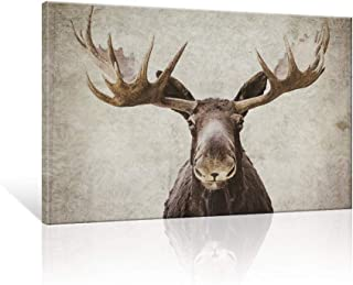 SEVEN WALL ARTS -Elmer The Moose by PI Creative Art Modern Wildlife Canvas Print Animal Moose Wall Pictures Vintage Giclee Print on Canvas Stretched Living Room Bedroom 24 x 36 Inch