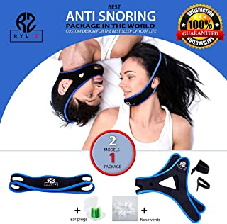 Premium Anti Snoring Chin Straps for Men and Women, Adjustable Stop Snoring Solution, Snore Reduction Sleep Aids– 3 Anti Snoring Device : Anti Snoring Chin Strap (2 Models), Nose Vents and Ear Plugs
