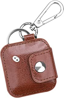 Fintie Case with Carabiner Keychain for Tile Mate/Tile Pro/Tile Sport/Tile Style/Cube Pro Key Finder Phone Finder, Anti-Scratch Vegan Leather Protective Cover with Speaker Cutout, Brown