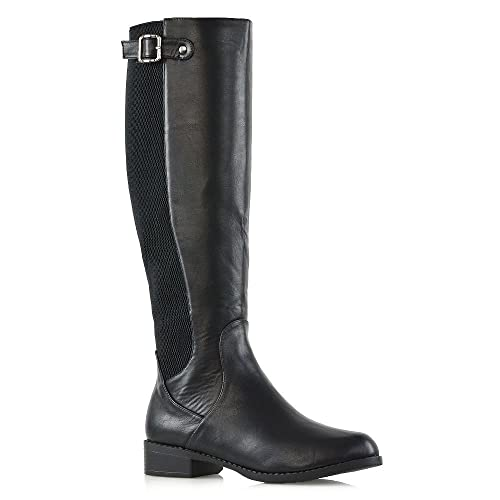 e45ffb80eb5 New Womens Knee High Stretch Calf Flat Low Heel Zip Ladies Riding Casual  Boots