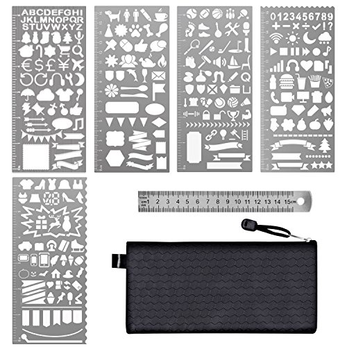 Paxcoo 6 Pcs Stainless Steel Journal Stencils with Template Ruler for Bullet Journal Planner Painting Drawing