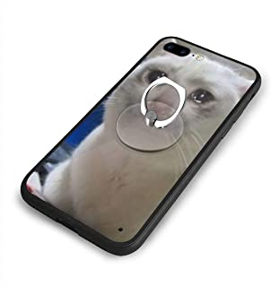 not Crying Cat Meme iPhone 7/8 Plus Case, TPU Shockproof Fashion Case with Ring Bracket Compatible with iPhone 7 / iPhone 8 Plus