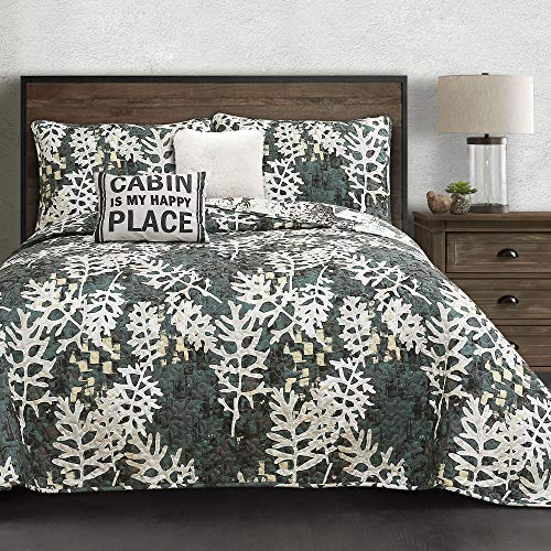 Lush Decor Green Camouflage Leaves Quilt-Reversible 5 Piece Bedding Set with Wintry Cabin Deer Scene-King