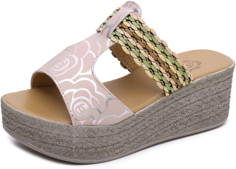 GIY Women's T-Strap Slides Anti-Slip Summer Slip on Platform Footbed Wedge Sandals