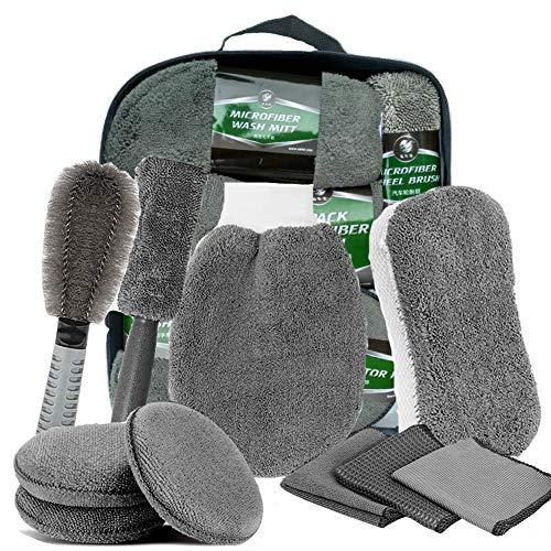 10 Pezzi,Kit Lavaggio Auto,Kit di Strumenti di Lavaggio Auto Set,Spugna per Auto Set di Pulizia,Accessori Pulizia Auto Kit. (grigio)
