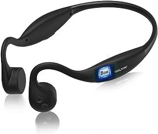 Auriculares de Conducción ósea, Ralyin Auriculares Inalámbricos Abiertos Audífonos Bluetooth con micrófono,Tarjeta SD de Memoria Integrada de 8GB Auriculares con Cancelación de Ruido para ciclismo, conducción, Corriendo, gimnasio