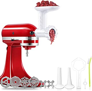 Antree Meat Grinder Attachment fits for KitchenAid Stand Mixer- Food Grinder -Meat Mincer with 4 Grind Plates, 2 Grind Blades, 2 Sausage Filler Tubes and 1 Cleaning Brush for KitchenAid Mixers �