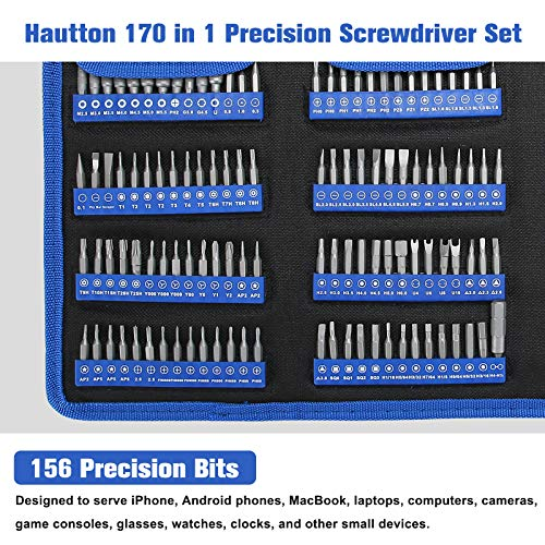 Hautton Precision Screwdriver Set, 170 in 1 Magnetic Screwdriver Kit, Multi-function Professional Repair Tool Set with Portable Oxford Bag for Phone, Laptop, PC, Watch, Electronics, and More -Black