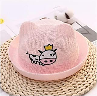 Baby Decoration Hat Cute Cow and Ear Baby Straw Hat Children Sun Visor Sun Protection Hat for 3-30 Months(Pink) Cute Cap (Color : Pink, Size : 46-50cm)