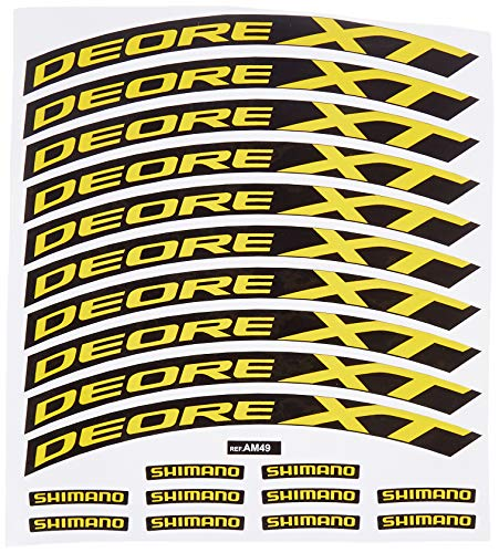 Ecoshirt 3P-EURT-F6NI Pegatinas Stickers Llanta Rim Shimano Deore XT Am49 MTB Downhill, Amarillo 29'