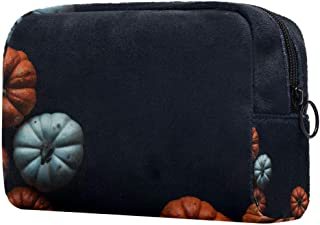 Halloween Pumpkin Black Makeup Bag Toiletry Bag for Women Skincare Cosmetic Handy Pouch Zipper Handbag