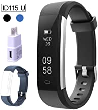 REDGO Fitness Tracker for Kids, Women, Men, Smart Activity Tracker Pedometer Watch Sport Wristband Waterproof with Step Counter Sleep Monitor Calorie + USB Wall Charger + ID115 U Replacement Band