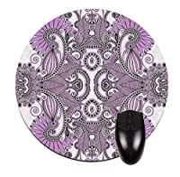 """02-purple paisley- 8""""ラウンドマウスパッド/ mousemat-qualityネオプレンbacking-greatオフィスデスクアクセサリー。"""