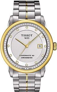 ساعة تيسوت للرجال مينا فضي بسوار معدني - T086.408.22.036.00، بسوار من درجتين، شاشة عرض انالوج