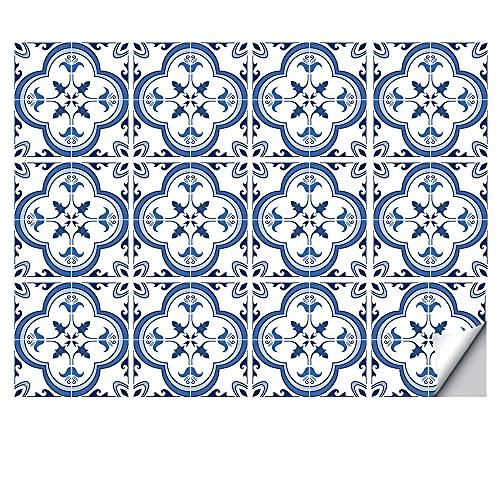 Juego de pegatinas decorativas para azulejos de 12 unidades, 15 x 15 cm, autoadhesivas, desmontables, azules, baldosas, impermeables, para cocina, baño, escaleras y decoración del hogar