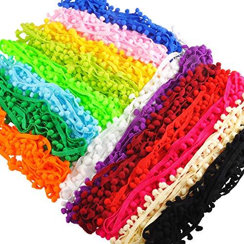 Berolle 10 mm Pom-Pom-Bordüre, gemischte Farben, Knäuel, Fransen, Nähen, Spitzenbesatz für Kleidung, Basteln,...