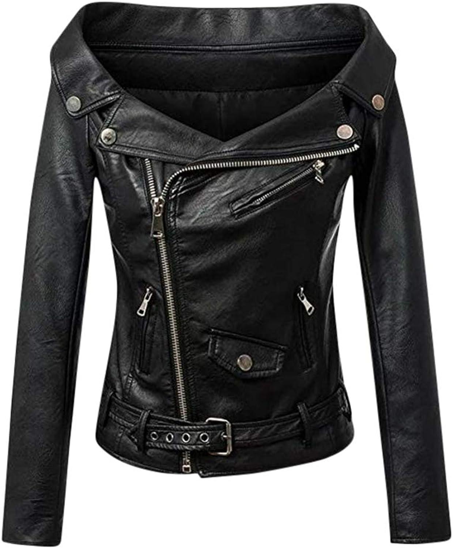 Grease  Open Shoulder Black Faux Leather Sexy Slim Biker Jacket XS4XL