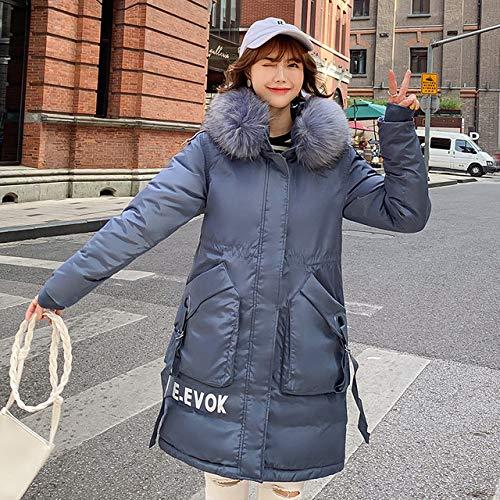 WFSDKN dames winterjas winterjas winterjas dames hoge kwaliteit 2019 lang slim letter model feminine jas bontkraag met ritssluiting dames donsjack blauw XXXL
