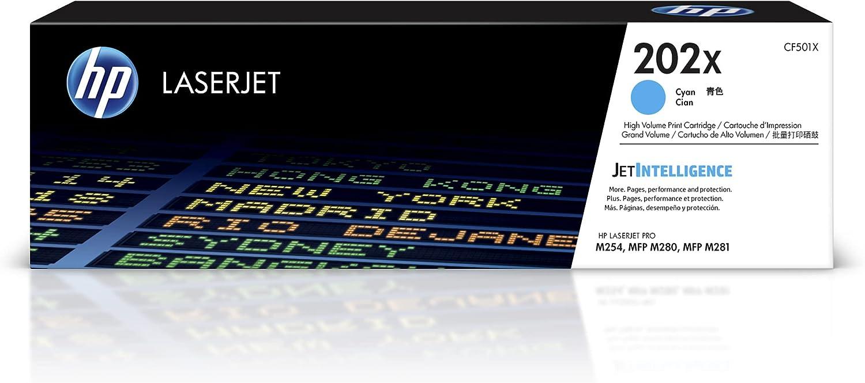 HP 202X   CF501X   Toner-Cartridge   Works with HP LaserJet Pro M254, M281cdw, M281dw   Cyan   High Yield