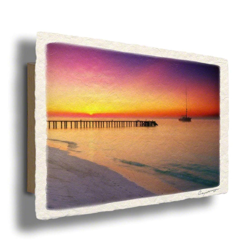 手すき 和紙 アートパネル 木製パネル付 紫 海 「日の出の桟橋とヨット」54x36cm 絵 絵画 インテリア 壁掛け 壁飾り 風水 玄関