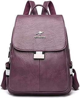 Backpack,2020 New PU Women Leather Backpacks Female School Bag for Teenager Girls Travel Backpack Brand Ladys Retro Bagpack,Purple,MultipurposeDurable