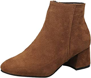Women Suede Short Boots Ankle, Ladies Solid Round Toe Square Heel Side Zip Warm Boots Party Shoes