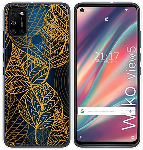 Cover Gel Transparent for Wiko View5/View5 Plus Design Leaves Drawings